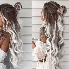 Ombré Hair, Hair Day, White Ombre Hair, Ombre Hair Brunette, Platinum Blonde Ombre, Ombre Hair Color, Medium Hair Styles, Curly Hair Styles, Hair Upstyles