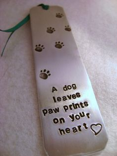 Metal Stamped Personalised Bookmark A Dog Leaves by MauveMagpie