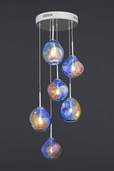 Fluid 6 Light Iridescent Cluster Glass Pendant