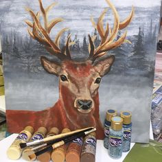 Project Day Saturday 14th February stags head painted in acrylics, a little painting experience preferred. 10:00-5:00 lunch will be included, this is a full on day & Kim will help you achieve a good result £35 spaces available call Lesley & Kim on 1909 591808 to book your seat
