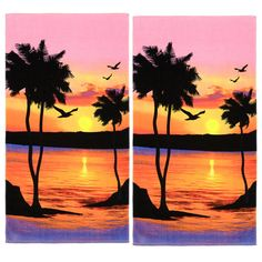 Palm Tree Sunset Cotton Beach Towel (Set of 2) ($30) ❤ liked on Polyvore featuring home, bed & bath, bath, beach towels, backgrounds, beach and cotton beach towels