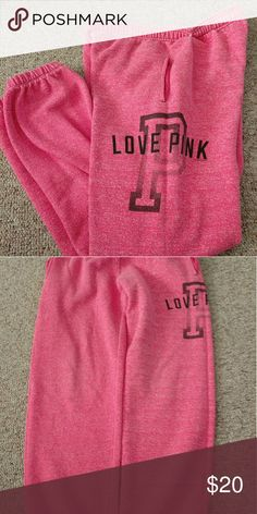 🆕 PINK Sweatpants Excellent used condition. No holes. No stains. No pilling. This is a redish/salmon color. Has pockets. Also has elastic gathering at the hems. Tag lists this as an XS, but borders XS/small with the elastic band around the waist. Please reference measurements.  Waist 14 inches Inseam 29 inches Width of hem 5 1/2 inches  ⛔Please make offers thru the OFFER TAB ONLY. I DO NOT negotiate on the listing.⛔  ❌No trades ❌No modeling ❌No holds 53 PINK Victoria's Secret Pants Capris