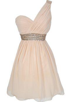 One Shoulder Embellished Chiffon Designer Dress in Cream