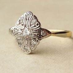 Art Deco Diamond Ring, Platinum and 18k Gold Diamond Engagement Ring Approx Size US 8
