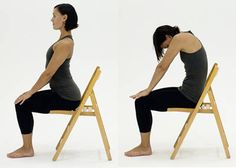 10 Chair Yoga Poses- #1. Chair Cat/Cow Stretch
