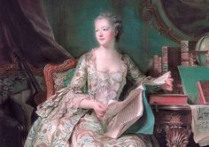 At a masked ball, the recently widowed king Louis XV became smitten with Jeanne-Antoinette. He installed her in an apartment above his own at Versailles, where a secret stairway allowed him to visit her without being seen. There, she amassed a huge library of books, becoming a friend and patron of artists and writers, including Voltaire, Montesquieu, and Diderot.