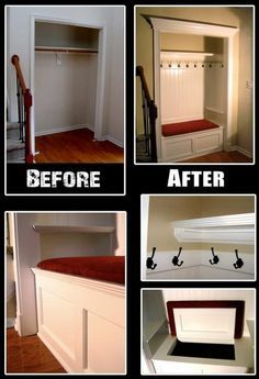 A great way to turn an underutilized closet into a multi-functional space! Create a small mud closet by removing the door, then adding wall hooks, padded seating and open storage under a built-in bench. What do you think?