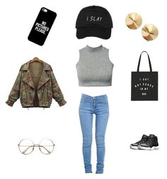 """""""'cause I slay"""" by idkmyusername53 on Polyvore featuring ZooShoo, NIKE, Casetify and Eddie Borgo"""