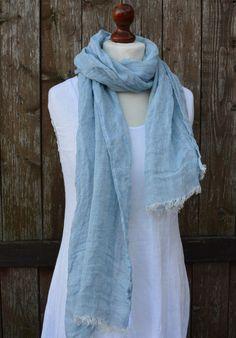Blue linen scarf linen shawl summer spring scarf soft by Linaraart