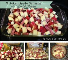 I made this last night and my husband ate ALL of it! A must try! Recipe: Chicken Apple Sausage with Roasted Potatoes - Maggie Bags blog #yummy #recipe #MaggieBags