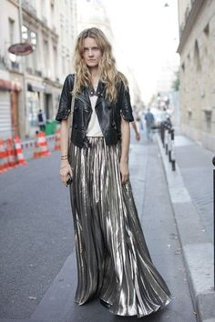 black leather jacket with metallic maxi skirt
