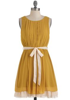 Pleats, Love, and Harmony Dress - Short, Yellow, Solid, Pleats, Party, A-line, Sleeveless, Belted, White