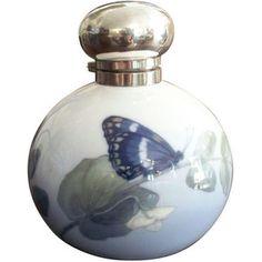 Perfume Bottle Art Nouveau Period Porcelain & Sterling