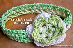 Crochet Baby & Girl Mesh Headband {Free Pattern}   This crochet headband is super cute easy and works up very quickly. The half double crochet mesh pattern measures about 1 inch wide, and you can make it to whatever head size you want by adjusting the beginning chain size. Merry Crocheting!