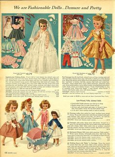 Fashionable dolls, Sears Wishbook, 1958