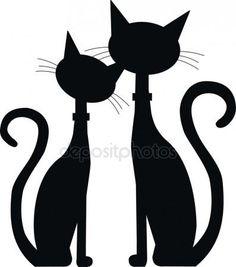 Silhouet van twee zwarte katten — Stockillustratie #12780511