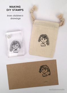 How to make DIY Stamps from your children's drawings // MollyMooCrafts.com #silhouette