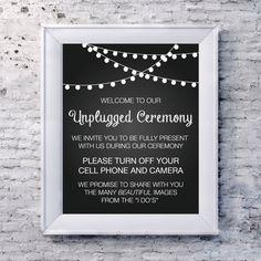 "Wedding sign Unplugged Wedding Sign 8""x10"" No camera No cell phones Wedding ceremony unplug INSTANT DOWNLOAD"