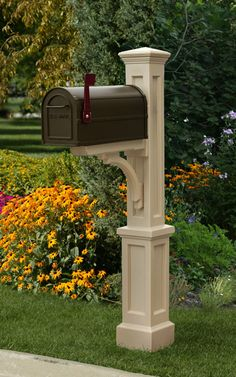 Clay colored mailbox post.