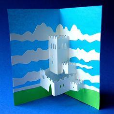 Ecco un'idea per un castello pop-up! servono alcuni cartoncini di diversi colori e soprattutto è indispensabile seguire le istruzioni: le linee tratteggiatesi devono piegaree le linee con…