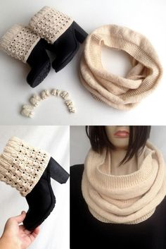 Winter Accessories Infinity Scarf Leg Warmers by senoAccessory #scarf #infinityscarf #bootcuffs #bootsocks #giftguide #forher #fashion #winter #giftideas #knit #knitted #handmade #knitscarf