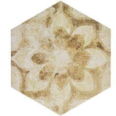 "Found it at AllModern - Roche 8.63"" x 9.88"" Hex Decor Porcelain Field Tile in White/Cream"