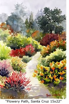 """Flowery Path"" - by Marie Gabrielle ~Watercolor"