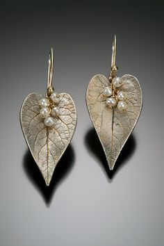 Silver, Gold, and Pearl Leaf Earrings