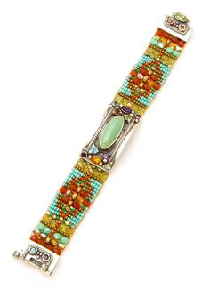 Cowgirl Turquoise Classic Bracelet - Adonnah - Guest Designers   Peyote Bird Designs - THIS GAL'S STUFF IS FANTASTIC!