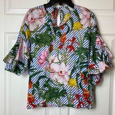 Zara Tops | Zara Striped Floral Ruffle Sleeve Top Tropical | Poshmark Floral Stripe, Zara Tops, Ruffle Sleeve, Blossoms, Blue Stripes, Tropical, Sleeves, Outfits