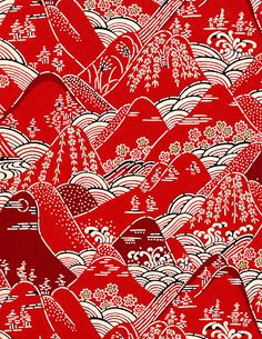 red hills, Japanese paper