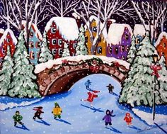 Ice Skating Kids Winter Fun Holiday Snow Folk Art Painting