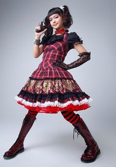 Cute jumper-don't need the pistol, tights or boots! Putumayo coord featured on Deka Wanko a Japanese drama, starring Tabe Mikako. Cute Jumpers, Japanese Street Fashion, Character Outfits, Lolita Dress, Lolita Fashion, Gothic Lolita, Japanese Girl, Japanese Drama, Cute Girls