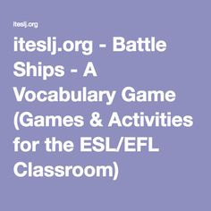 Battle Ships - A Vocabulary Game