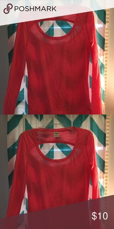 Hot pink long sleeve tee Hot pink long sleeve tee with upper back cut out PINK Victoria's Secret Tops Tees - Long Sleeve