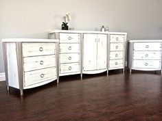 Nice Shabby Chic White U0026 Silver Leaf Dresser U0026 Nightstand Set   $600   SOLD Great Pictures