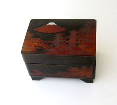Mid century Japanese red and black lacquer ware by evaelena, $38.00