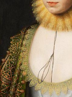 William Larkin. Detail from Portrait of Anne Clifford, 1618.