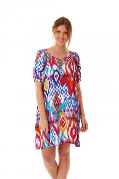 aff90fd3c2 jamjam Ikat Multi Coloured Dress Beautiful Summer Dresses, Nice Dresses,  Beach Tunic, Beach