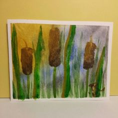 Watercolor Cattails