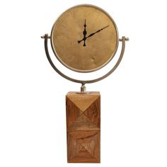 26 in. x 12 in. Circular Metal with Wooden Block Base in Chrome Frame Table Clock, Gold