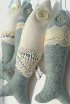 Linen, lace and duck egg wool felt fish...