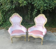 Priscilla Pink Matching Chairs — Rent My Dust Pink Furniture, Dream Furniture, Shabby Chic Furniture, Florida Home Decorating, Small Grey Bedroom, Dining Room Chairs Ikea, Recycled Plastic Adirondack Chairs, Overstuffed Chairs, Wedding Chairs