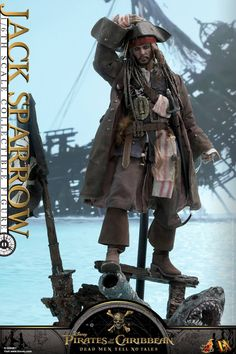 From the latest Pirates of the Carribean film comes Jack Sparrow from Hot Toys. The 1/6 scale representation features an authentic likeness and costume.