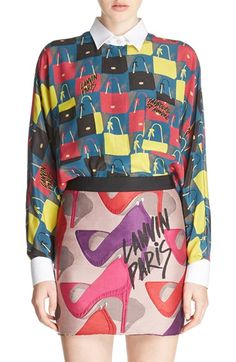 LANVIN Print Washed Silk Crepe Top. #lanvin #cloth #