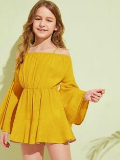 Get discounts for Girls Cold Shoulder Bell Sleeve Romper and find more styles you'll enjoy. Cute Little Girls Outfits, Cute Girl Dresses, Kids Outfits Girls, Cute Casual Outfits, Pretty Outfits, Stylish Outfits, Girl Outfits, Stylish Girl, Preteen Girls Fashion