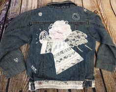 CHICETTES by CHICO'S Jean Jacket Angel Embellished Size 2 / 2T Toddler Girl's #Chicos #Jacket #Everyday