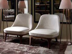 Upholstered leather armchair DORY Cosmopolitan Collection by Ulivi Salotti