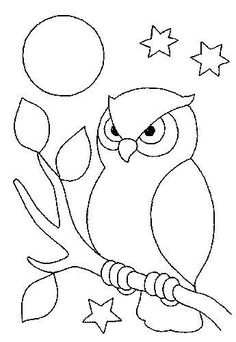 Farm Animal Coloring Pages For Preschool Owl Patterns, Applique Patterns, Applique Designs, Quilt Patterns, Embroidery Designs, Art Drawings For Kids, Bird Drawings, Easy Drawings, Animal Drawings