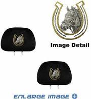 Headrest Covers - Car Truck SUV - Crystal Studded Rhinestone Bling - White Horse w/ Golden Horseshoe